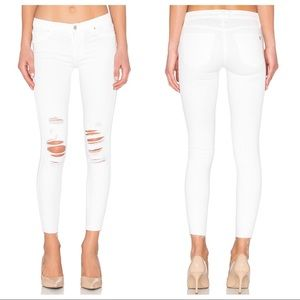 Black Orchid Noah Ankle Fray Skinny Jeans in White